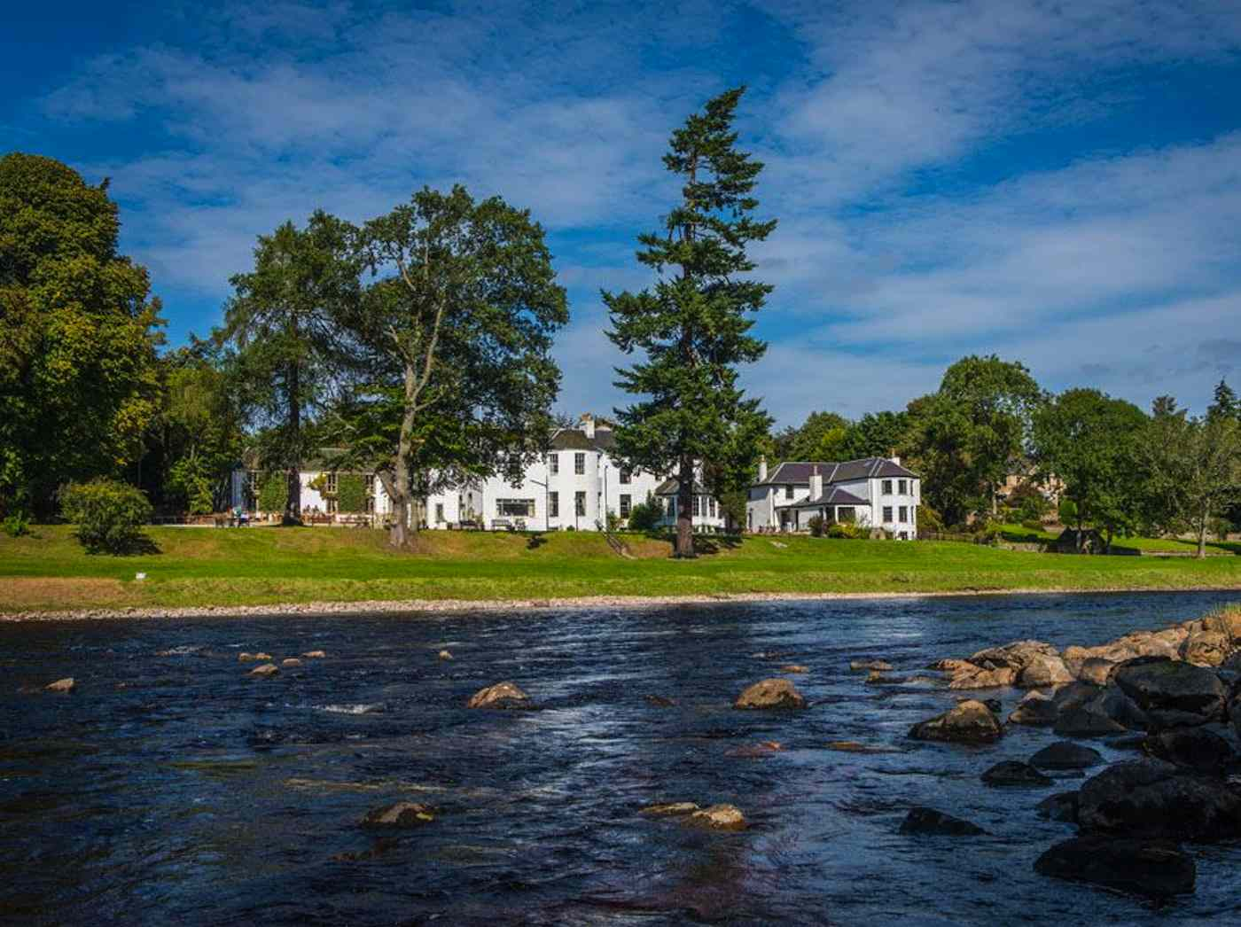 The Banchory Lodge Hotel Front Elevation From Across The River Dee